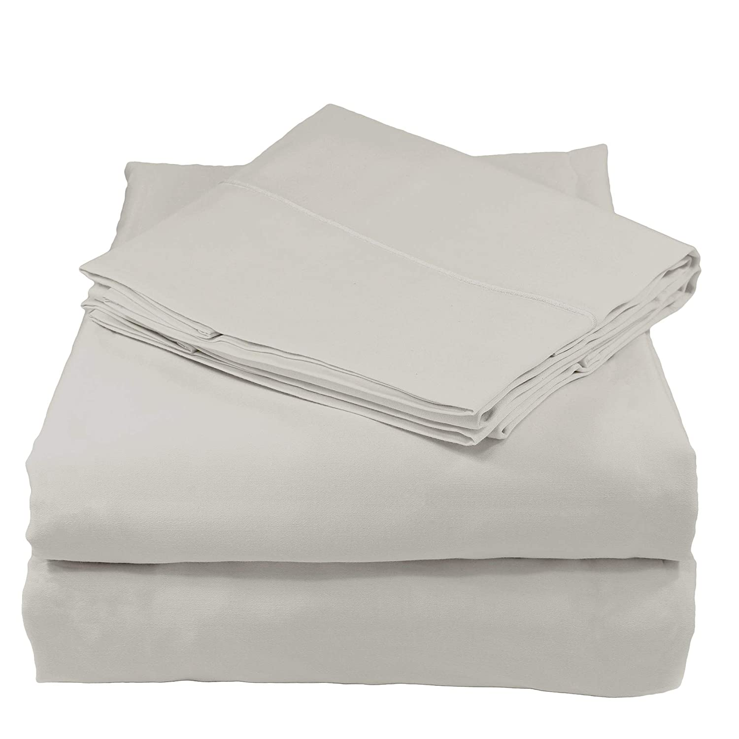 Silver CaliforniaKing Whisper Organics 300 Thread Count Soft Cotton Twin Bed Sheet Set (GOTS Certified), White