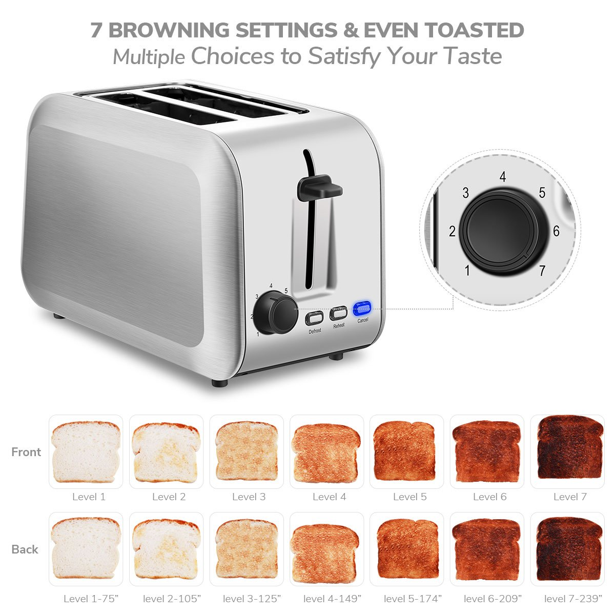 2-Slice Toaster, TOBOX Cool Touch Toasters with 2 Extra-Wide Slots, 7 Browning Dials and Removable Crumb Tray - Brushed Stainless Steel