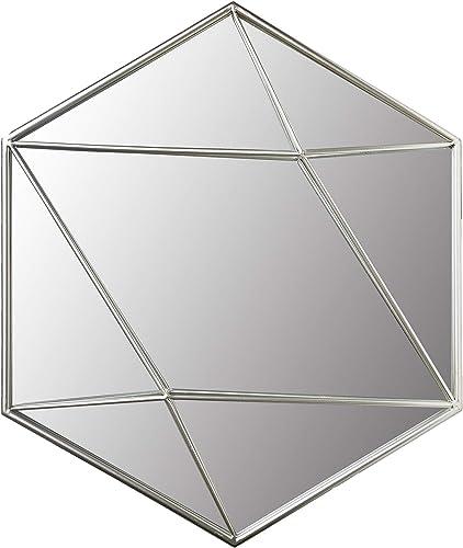 24 Silver Metal Hexagon Wall Accent Mirror