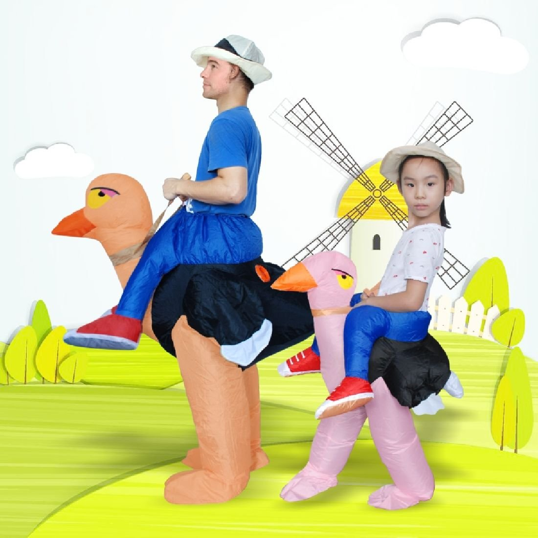 2 Size Adult And Child Costumes Halloween Cosplay Inflatable Ostrich Fancy Dress by Crystalbella Inflatable Cos