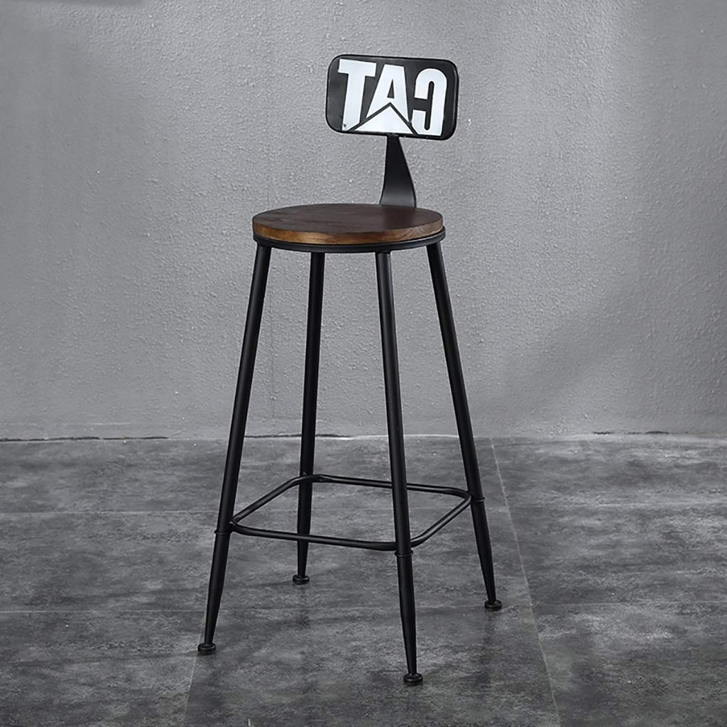 A NDD Bar Stools American LOFT Bar Chair Iron Art Retro Bar Stools Solid Wood High Stool Counter Stool (color   C)