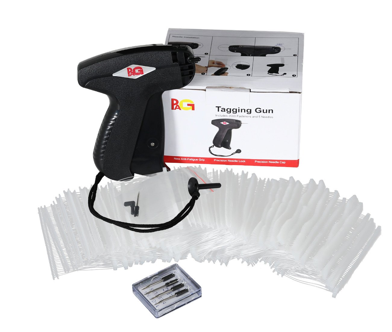 PAG Standard Tagging Gun Price Tag Attacher Gun for Clothing with 5 Needles and 2000 2 Barbs Fasteners Black