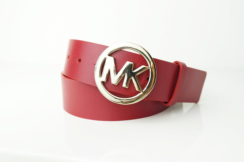 Amazon.com: michael kors MK Logo rojo cinturón hebilla de ...