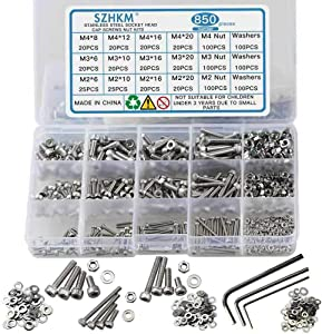 SZHKM 850pcs Stainless Steel Nuts and Bolts Assortment Metric Machine Screws Set M2 M3 M4 Screws Assorted Hex Bolts and Nuts kit for Electronics with Wrench