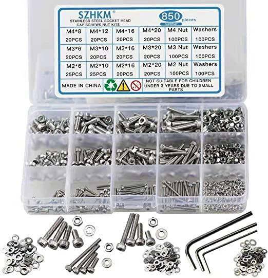 Sutemribor M2 M3 M4 Hex Socket Head Cap Bolts Screws Nuts Washers Assortment Kit with Three Hex Wrenches 304 Stainless Steel Screws Nuts and Washers 1200PCS