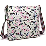 Miss lulu Women Messenger Bags School Bag for Teen Girls Bird Flower Canvas Leisure Slouchy Cross Body Shoulder Satchel