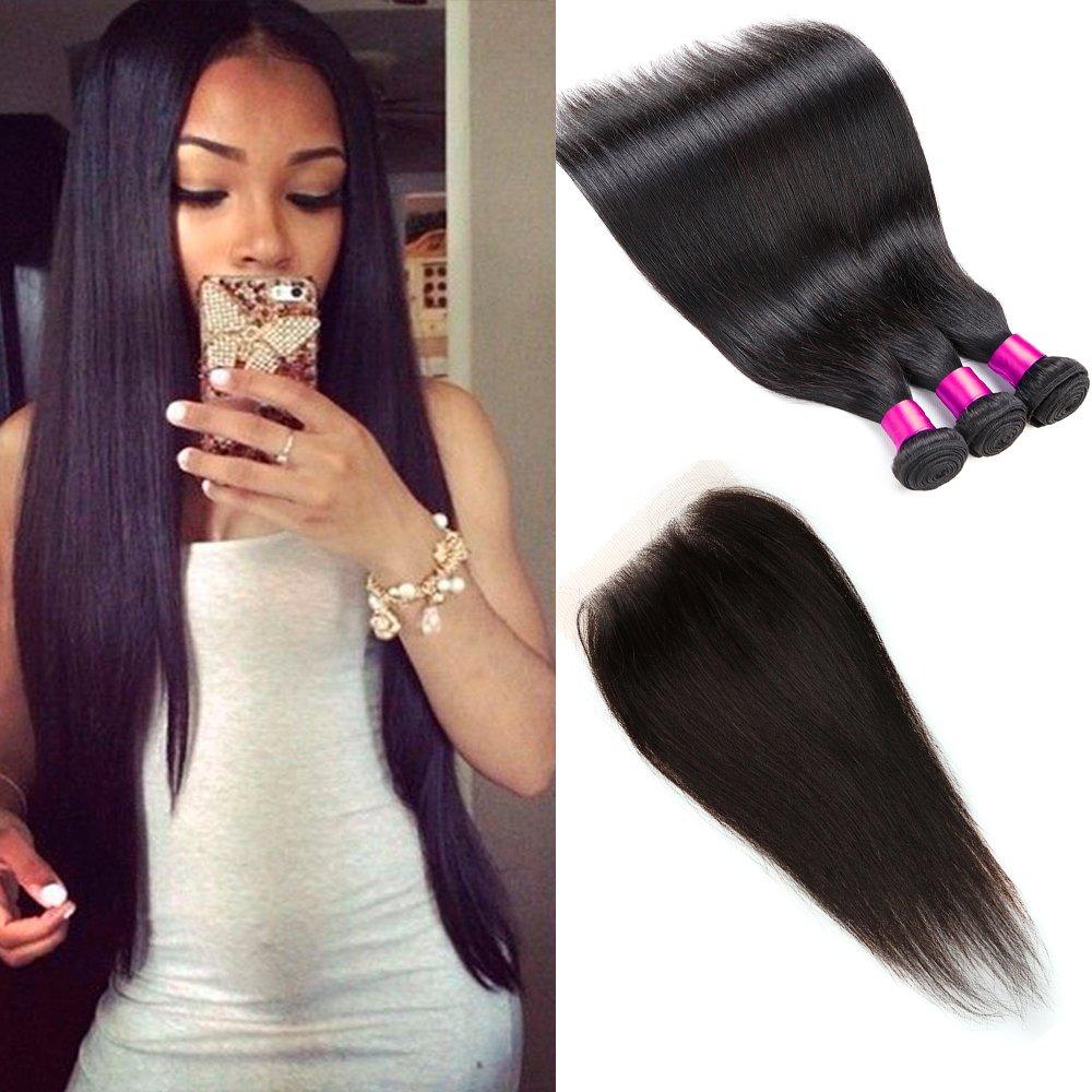 CGG Extensions de cheveux humains brésiliens Cheveux raides non transformés à tissage naturel Noir