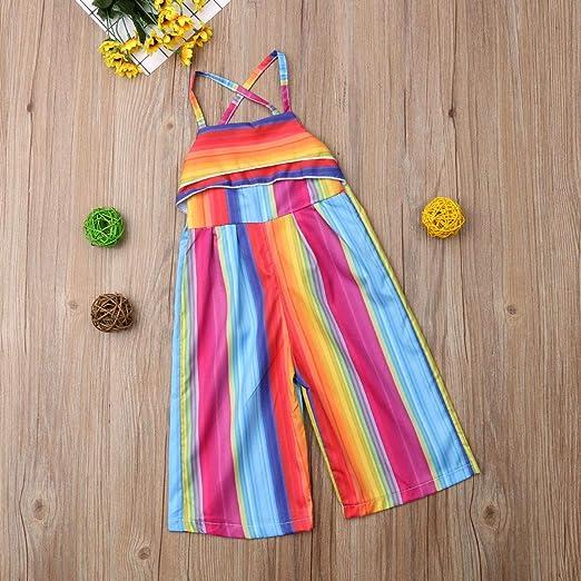 Baby Girls Rainbow Romper Suspender Overalls Toddler Shortalls Jumpsuit Short Pants