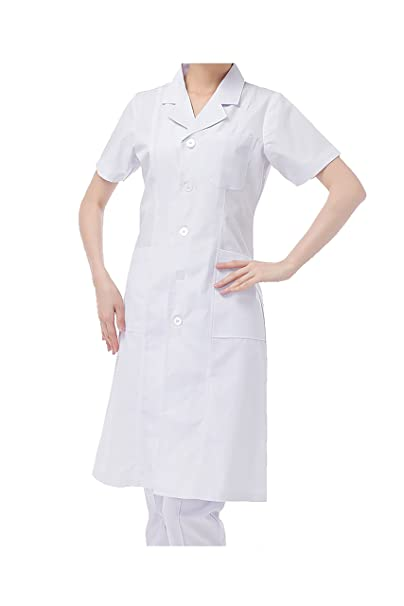 WDF Bata de Laboratorio médicos Bata Uniforme de Trabajo Enfermera Blanco Mujer Manga Corta Largo párrafo elástico Esposas: Amazon.es: Ropa y accesorios