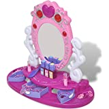 vidaXL Kinder Schminktisch Frisiertisch mit Spiegel Licht Sound Schönheitsstudio Rosa