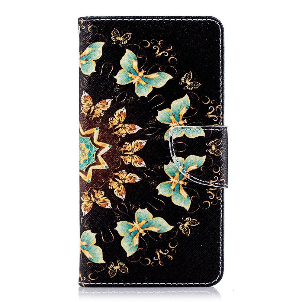 COTDINFOR pour Nokia 5 Coque /Él/égant 3D Effet Peint PU Portefeuille /Étui en Cuir Cover Stand Shell Bumper Housse pour Nokia 5 Golden Butterflies YX.