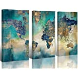 """Large World Map Canvas Prints Wall Art for Living Room Office""""16x32"""" 3 Piece Green World Map Picture Artwork Decor for…"""