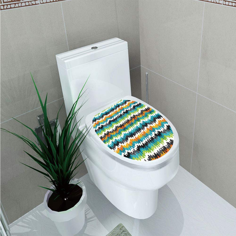 Toilet Cover Decoration,Geometric,Abstract Trippy Funky Digital Complex Forms Creative Mosaic Technology Motif Decorative,Multicolor,3D Printing,W12.6''xH15.7''