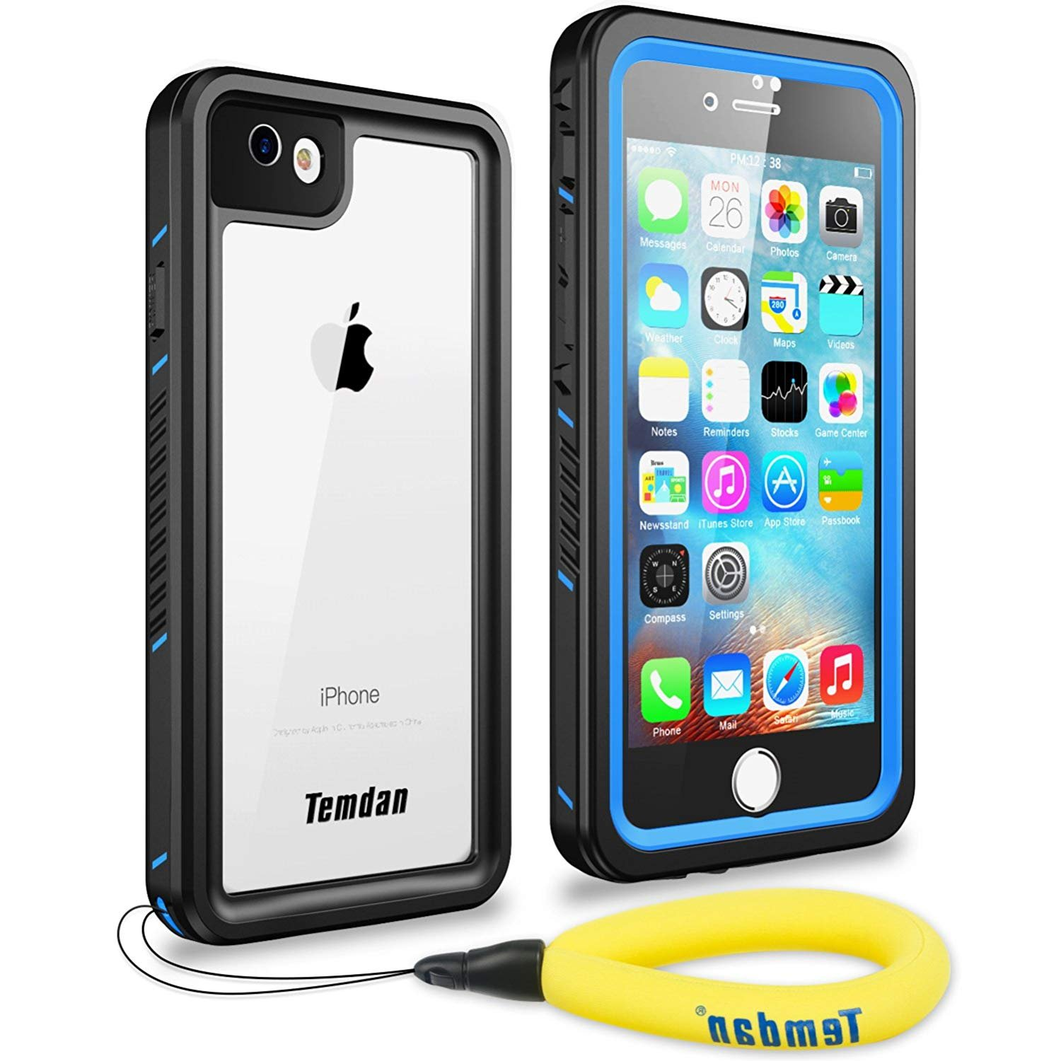 sneakers for cheap 47740 e9a9e Temdan iPhone 7/8 Waterproof Case with Floating Strap Built in Screen  Protector Transparent Cover Shockproof Snowproof IP68 Waterproof Case for  iPhone ...