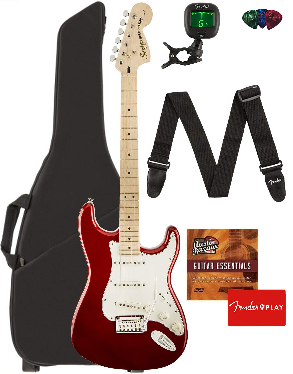 Fender Squier Standard Stratocaster Guitar - Maple Fingerboard, Candy Apple Red Bundle with Gig Bag, Tuner, Strap, Picks, and Austin Bazaar Instructional DVD by Fender