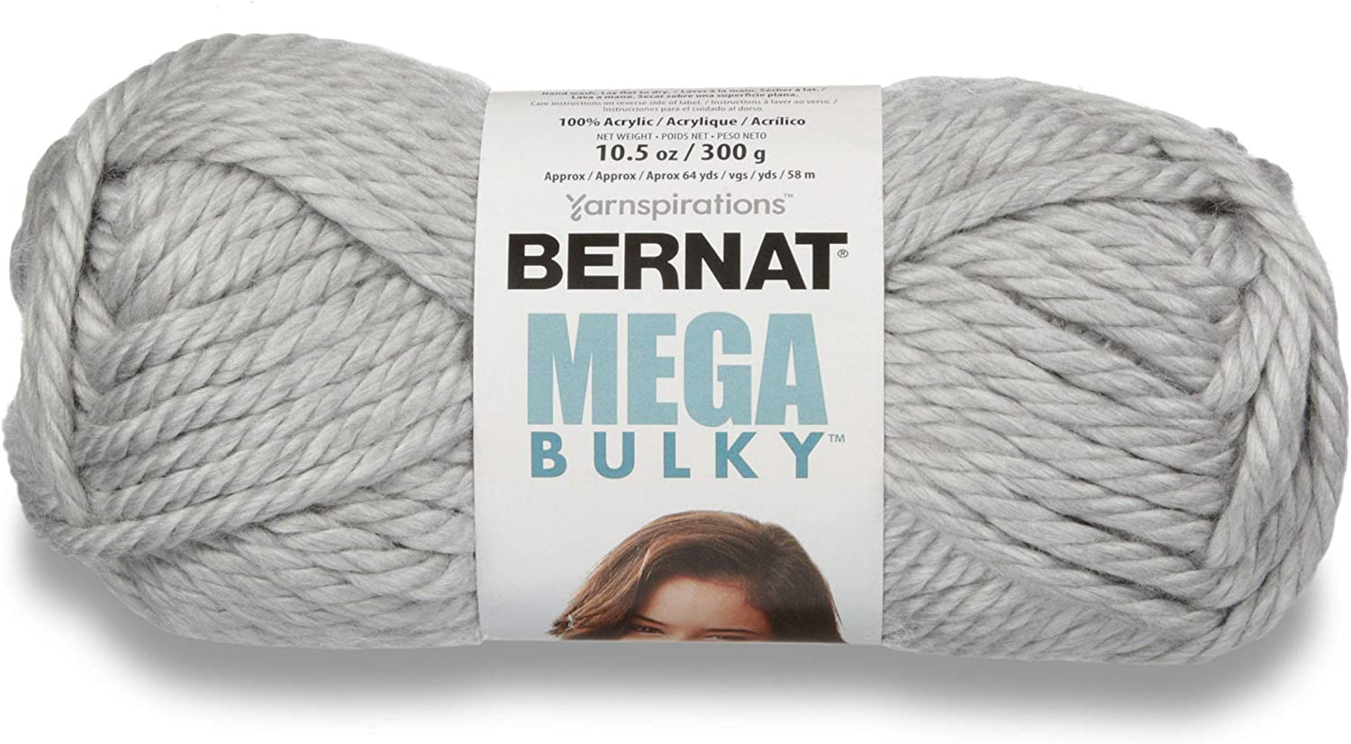 Bernat Mega Bulky Yarn, 10.5 oz, Gauge 7 Jumbo, 100% Acrylic, Light Grey Heather