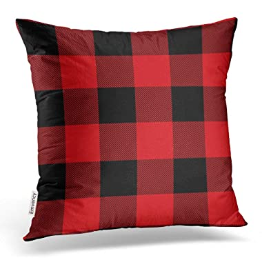 Emvency Throw Pillow Covers Rustic Red And Black Buffalo Check Plaid Pillowcases Polyester 16 X 16 Inch Square With Hidden Zipper Home Sofa Cushion Decorative Pillowcase
