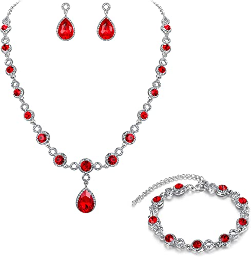 Clearine Parure Femme Cha/îne Goutte deau Forme Y Bracelet Bijou Mariage Collier Boucles doreilles Ensemble Cristal Autrichien Strass