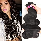 VRBest Hair Brazilian Virgin Hair Body Wave 3 Bundles 100% Unprocessed Virgin Human Hair Weave Extensions Natural Color (100+/-5g)/pc
