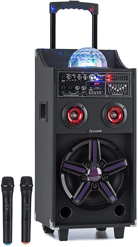Auna Pro Disgo Box 100 Mobile Pa Anlage 10 Tieftöner 2 X 3 Hochtöner 50 W Rms Led Lichter Bluetooth Usb Sd Slot 12v 4 5a Akku 2 Uhf Funkmikrofone Fernbedienung Tragegriff Schwarz Musikinstrumente
