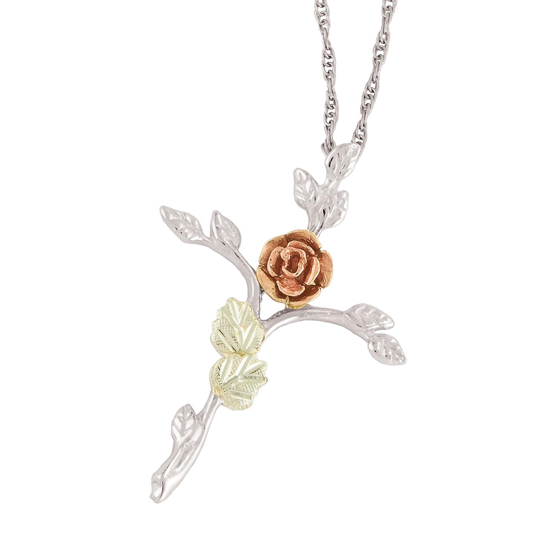 Black Hills Gold on Silver Rose Cross Pendant