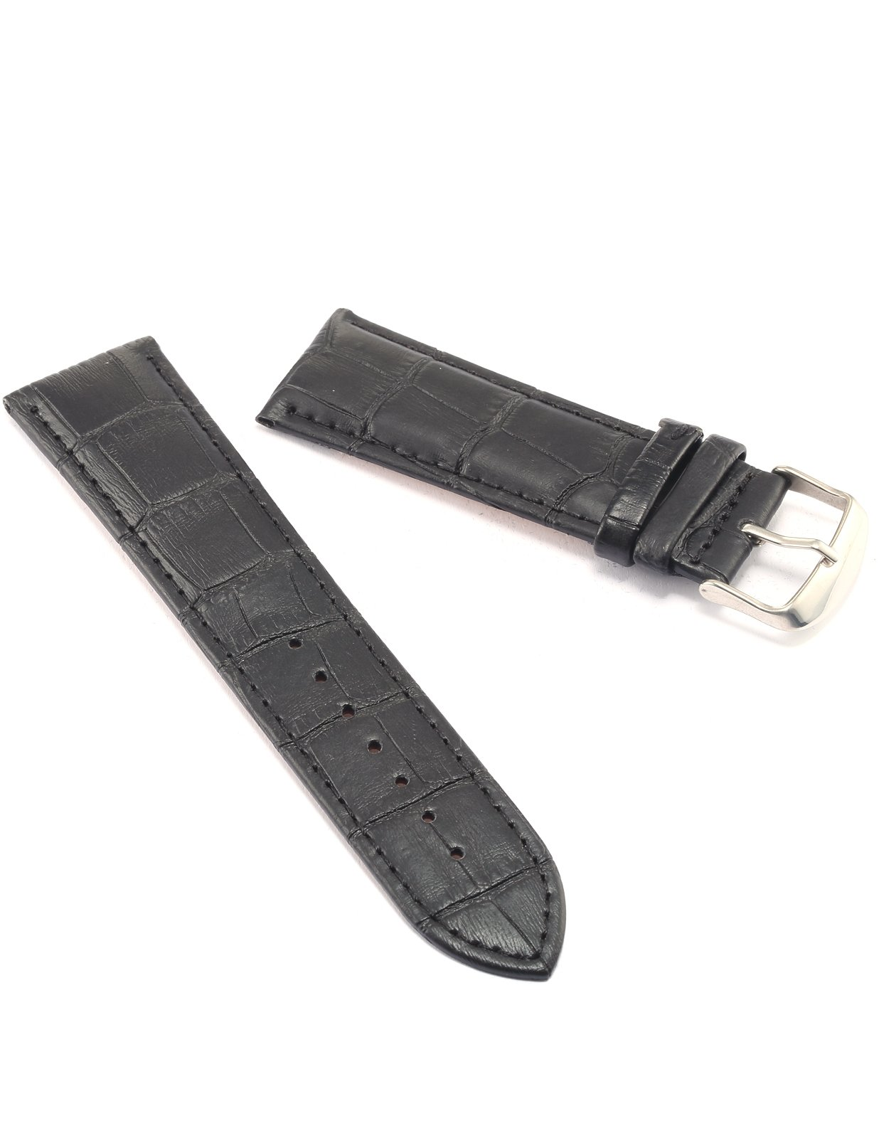 24mm Black PU Leather Watch Band Strap For Men Women WB2408