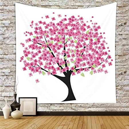 Polyester Tapestry Wall Hanging,House Decor,Cherry Blossom Festive ...