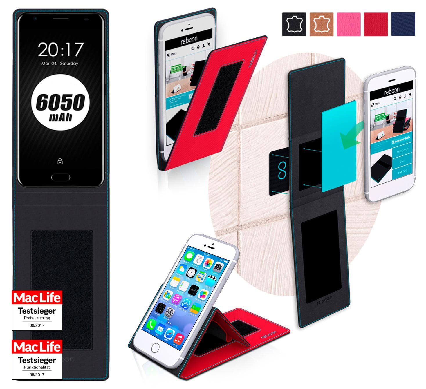 reboon Funda Ulefone Power 2 | in Rojo | Carcasa Multifuncional Case Cover