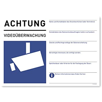 2 X Aufkleber Videoüberwachung Din A5 Sticker Für Dsgvo Als Vorgelagerter Warnhinweis Achtung Videoüberwacht Für Fenster Und Türen 21 X 148