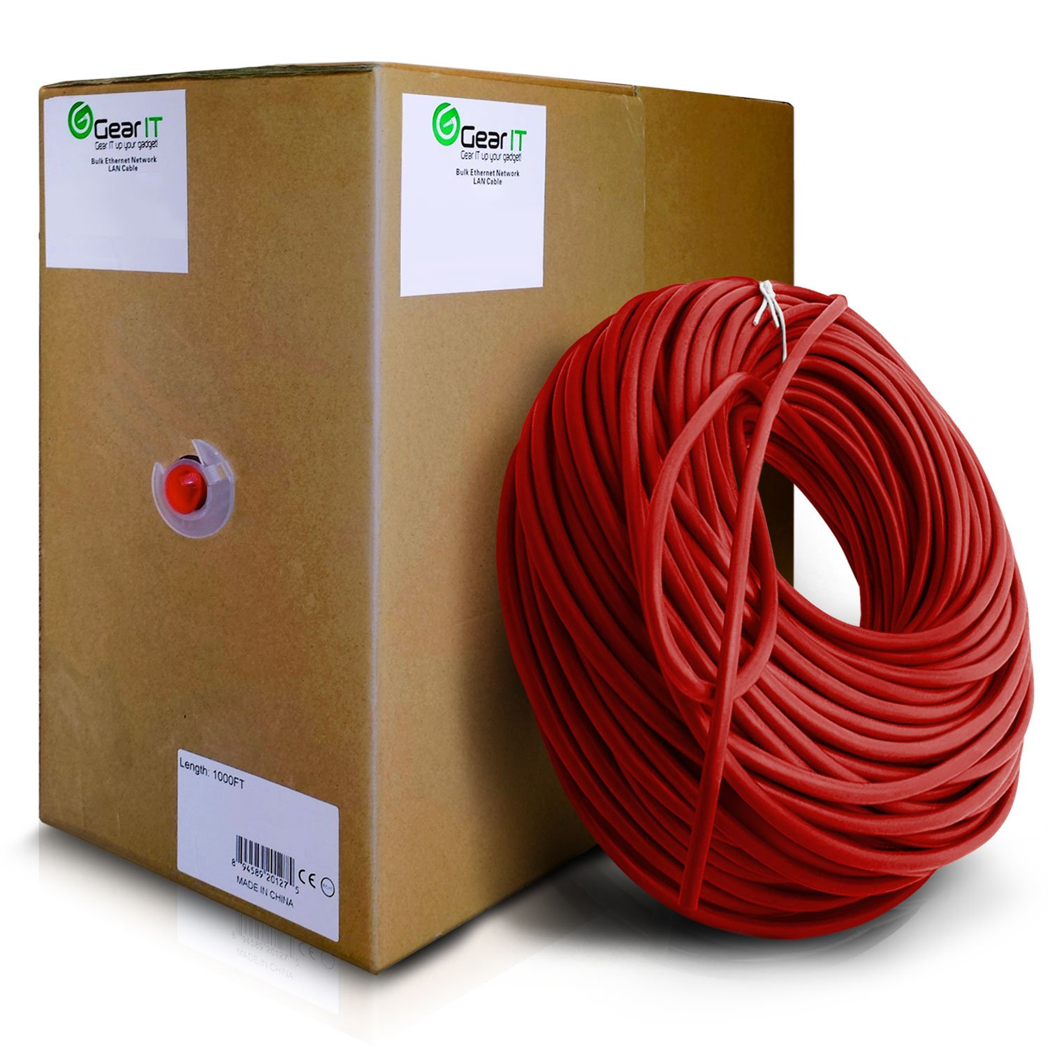 GearIT Cat5e Ethernet Cable Bulk 1000 Feet - Cat 5e 350Mhz 24AWG Full Copper Wire UTP Pull Box - In-Wall Rated (CM) Stranded Cat5e, Red