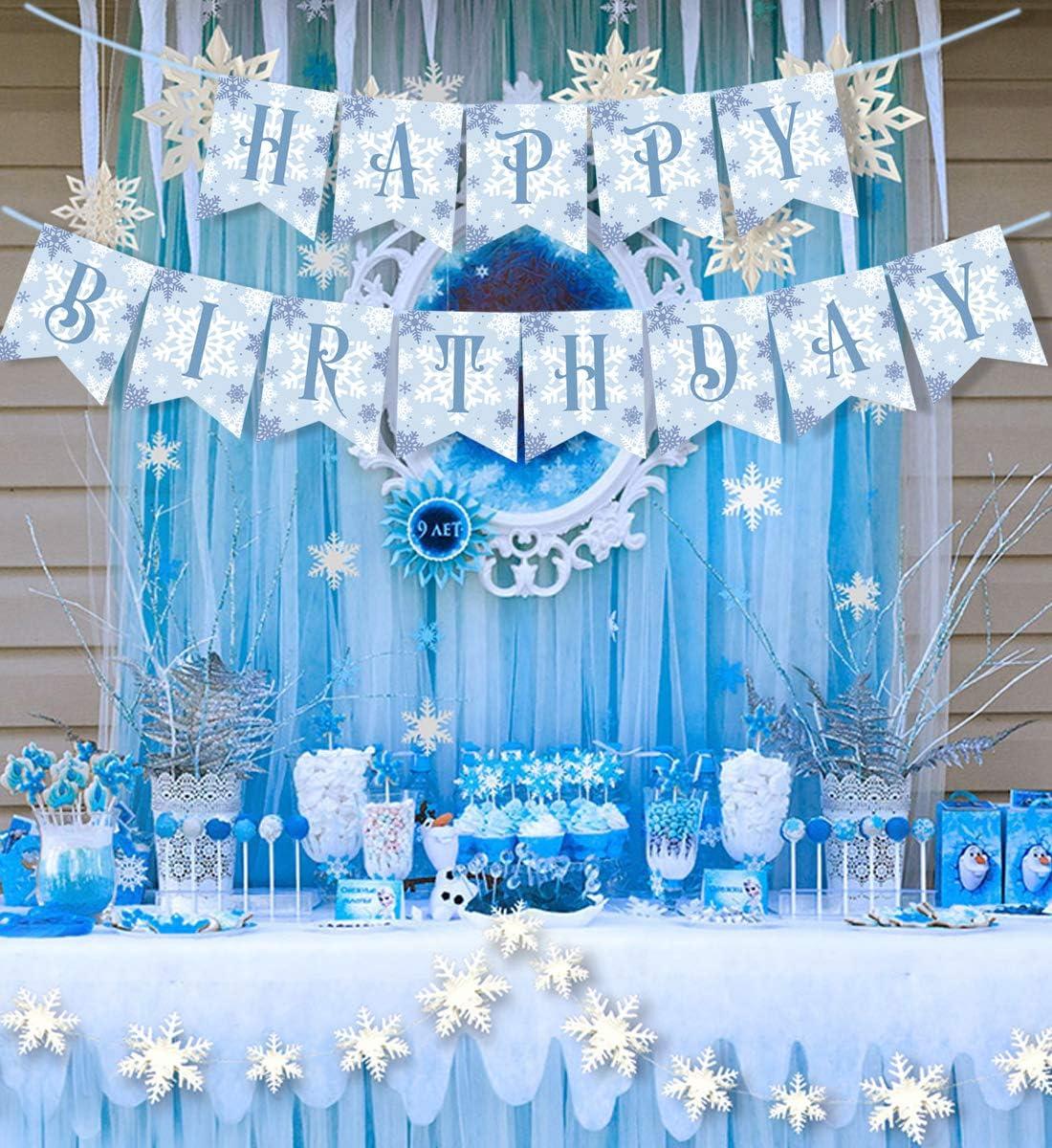 Amazon.com: Pancarta de cumpleaños con copo de nieve para ...
