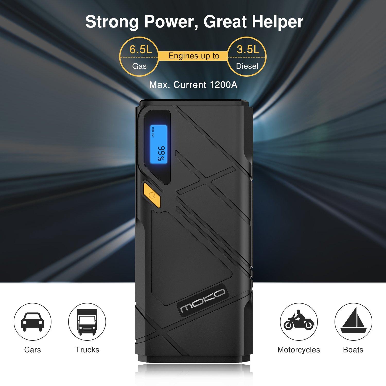 Flash LED de Emergencia MoKo Arrancador de Coche 12000mAh Amarillo 1200A Jump Starter Portable Cargadores de Bater/ía para Coche arrancador Emergencia con 2 Puertos USB