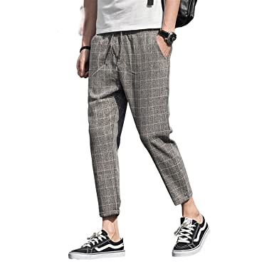 3cf9eeb5ae Handsome Style New Plaid Linen Casual Pants Men Ankle-Length Joggers ...