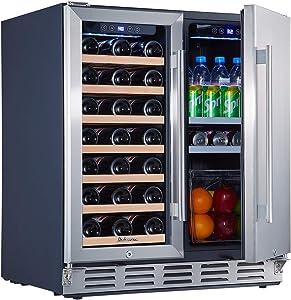 Under Counter Wine and Beverage Refrigerator, Kalamera 30 inch Wine Cooler Refrigerator – 2-in-1 Wine Refrigerator for 33 Bottles and 104 Cans – Built in Beverage Refrigerator w/ 40-66? & 32-41? Temperature Range for Kitchen, Bar, Home – Glass Door and Stainless Steel Door Wine Fridge