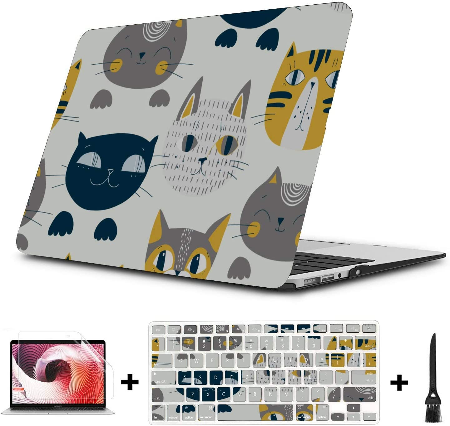 Mac Book Air Cover Cat Cute Lovely Pet Cartoon Plastic Hard Shell Compatible Mac Air 11 Pro 13 15 MacBook Pro 2016 Case Protection for MacBook 2016-2019 Version