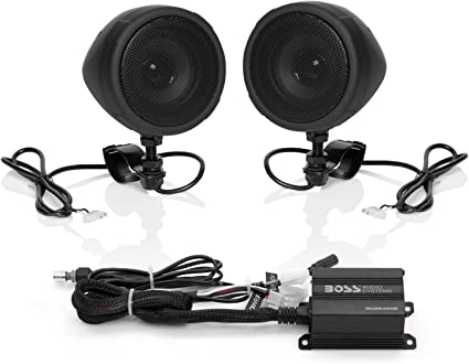 Boss Audio Systems MCBK10B Motorcycle Bluetooth Speaker System - Class D  Compact Amplifier, 10 Inch Weatherproof Speakers, Volume Control, Great for