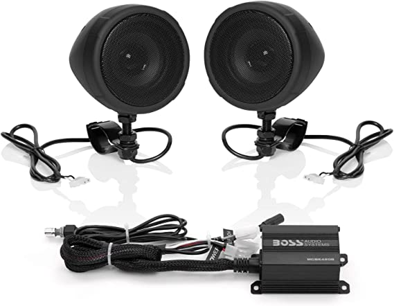 Amazon Com Boss Audio Systems Mcbk420b Motorcycle Bluetooth Speaker System Class D Compact Amplifier 3 Inch Weatherproof Speakers Volume Control Great For Use With Atvs Motorcycles 12 Volt Vehicles Car Electronics