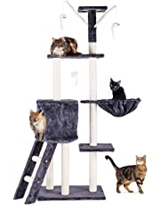 CO-Z 5-Level Cat Activity Trees and Towers Kitty Bed Furniture with Cat Perches, Cat Ladder Climber, Cat Scratching Posts, Peek Holes Condo & Dangling Toys