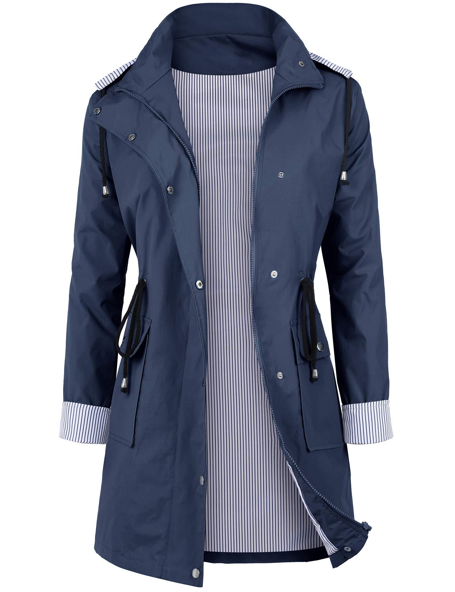 DOSWODE Women Waterproof Raincoat Lightweight Rain Jacket Hooded Windbreaker Trench Coats Blue_XXL by DOSWODE