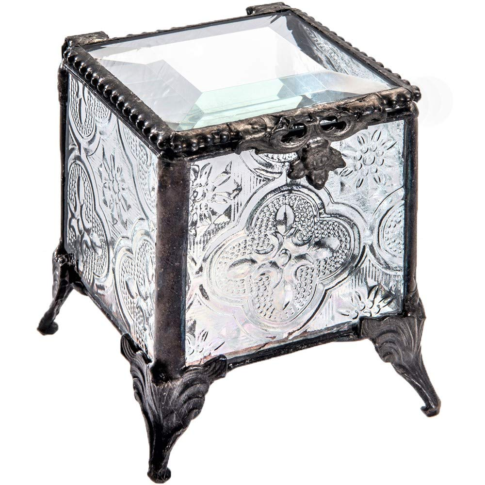 J Devlin Box 153 Series Stained Glass Trinket Keepsake Jewelry Display Crystal Ring Box (Vintage) J Devlin Glass Art Box 153-2