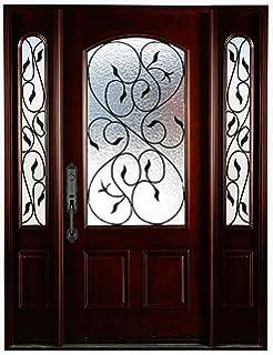 6 Lite Exterior Wood Door and 12 inch Sidelites, Mahogany