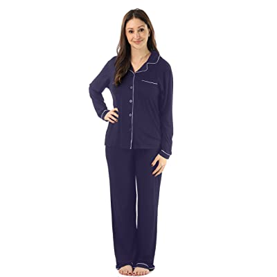 #followme Button Down Pajama Pant Set With Notch Collar