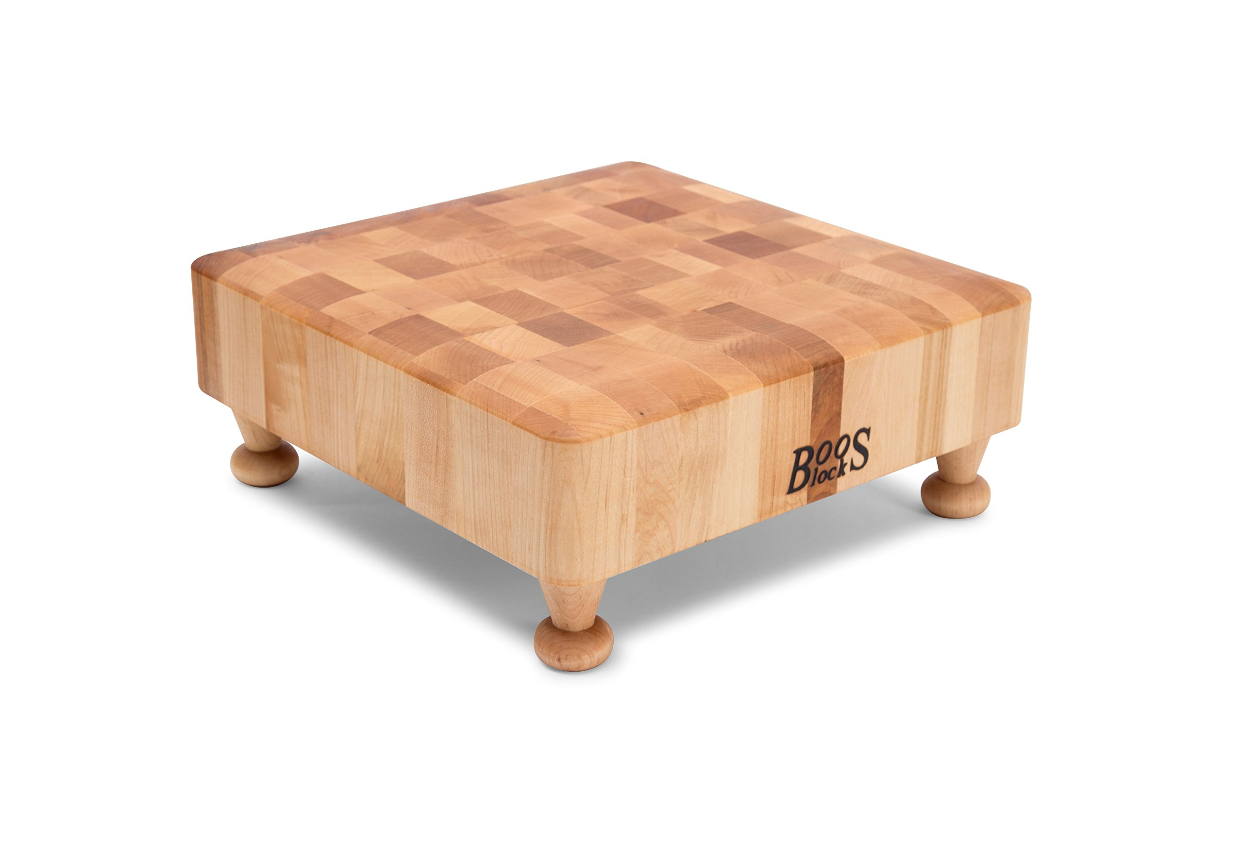 John Boos Raised Maple Wood Square End Grain Chopping Block with Tapered Feet, 12 Inches x 12 Inches x 3 Inches