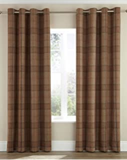 Highland Faux Wool Effect Lined Ring Top Curtains (Pair)   Natural/Caramel