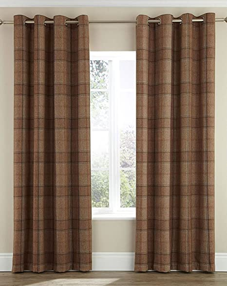 Highland Faux Wool Effect Lined Ring Top Curtains Pair