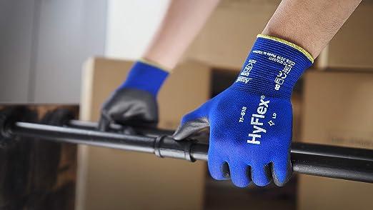 Bleu Noir Taille 9 Ansell HyFlex 11-618 Gants de Travail en Nylon Gant de Protection M/écanique /à Usages Multiples Extra-fins