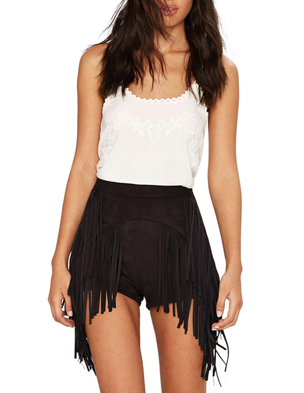 HaoDuoYi Women Sexy Fringe Tassel High Waist Suede Bodycon Shorts(XL,Black)