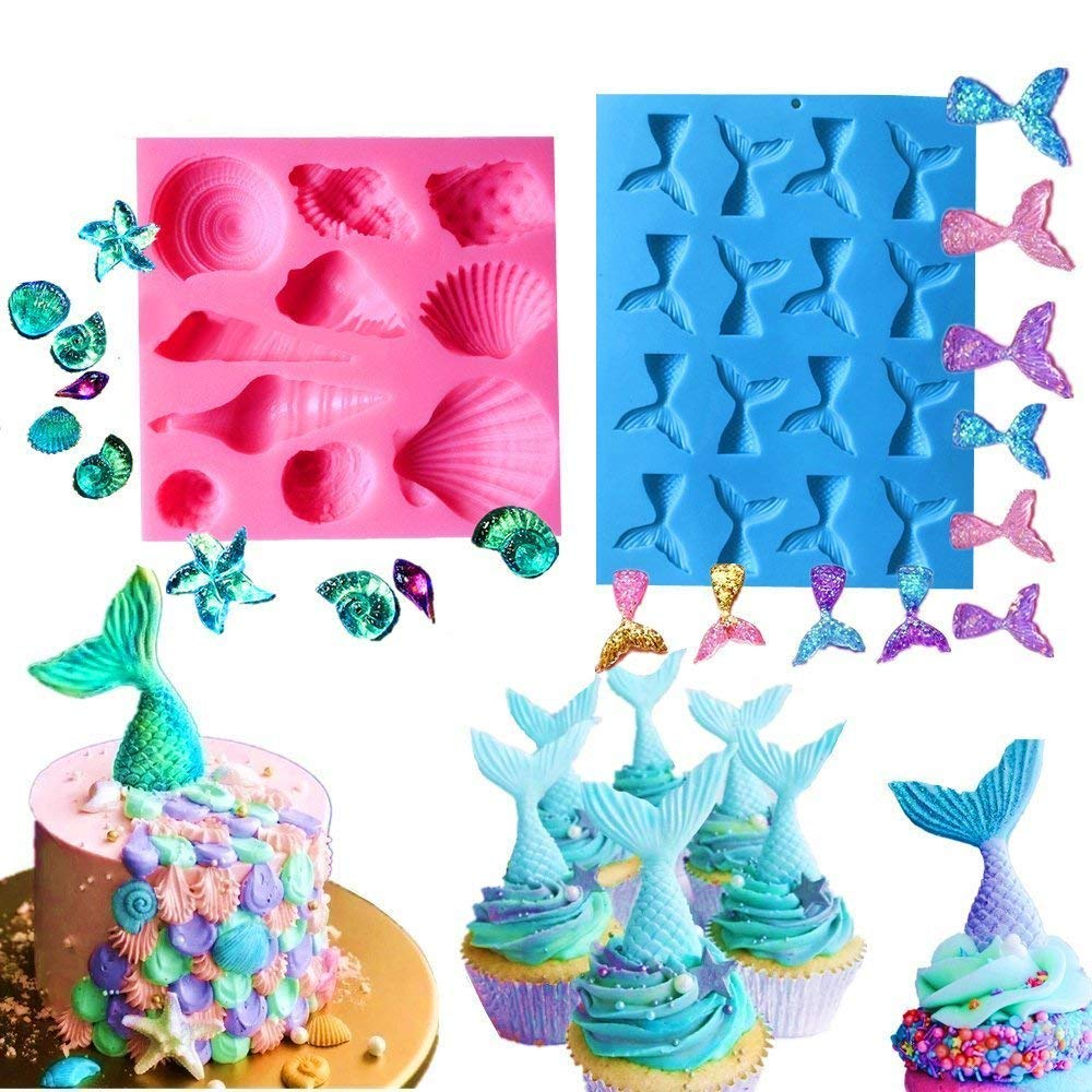 Set of 2 JeVenis Mermaid Series Tail Mermaid Silicone Fondant Mold for Cake Decoration Chocolate Candy Mold Soap Mold Baking Tool Jello Mold Cupcake Topper Ice Tray