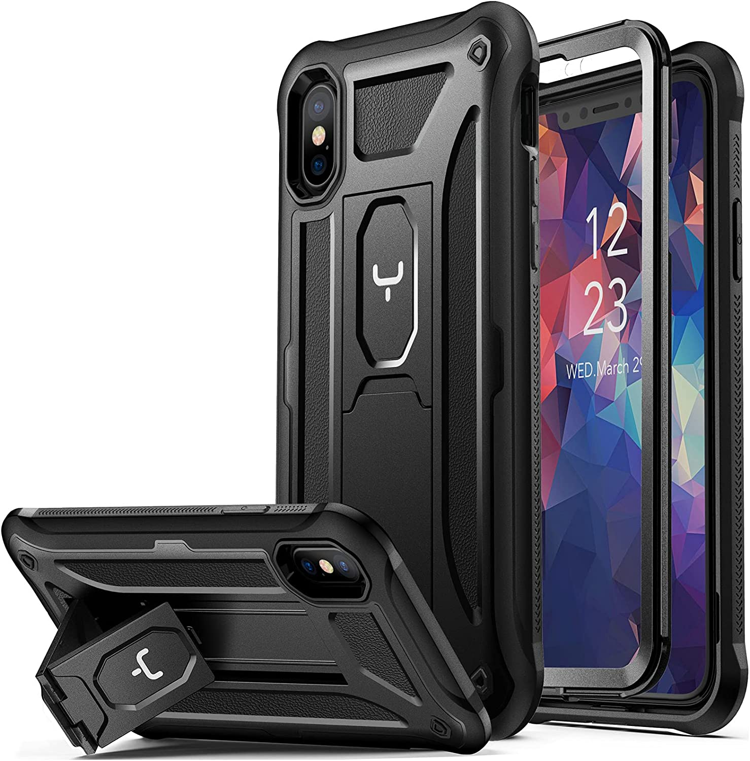 YOUMAKER iPhone Xs Max Case, with Built-in Tempered Glass Screen Protector and Kickstand Heavy Duty Protection Shockproof Cover for iPhone Xs Max Phone Case 6.5 Inch-Black