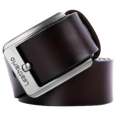 Leathario ceinture en cuir unisexe ceintures cuir véritable pour hommes de  longueur 120cm ceintures de boucles d4fb23123c4